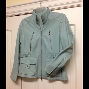 One Girl Who. Pale Blue Leather Moto Jacket. XS